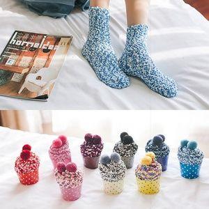 Accessories - Cute Cozy Light Blue Pom Pom Cupcake Socks